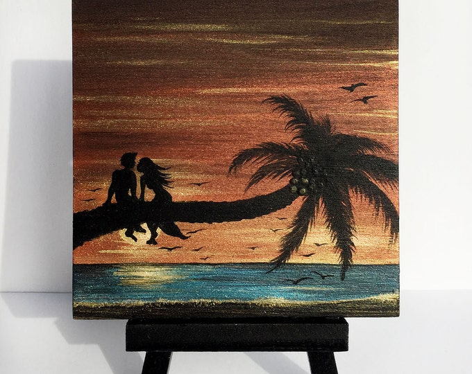 Romantic couple kissing on palm tree - sunset - silhouette - miniature miniature limited edition print mounted on wood