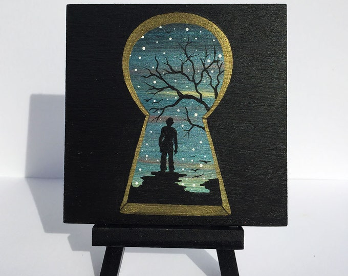 Keyhole view - man - night -   silhouette - miniature miniature limited edition print mounted on wood