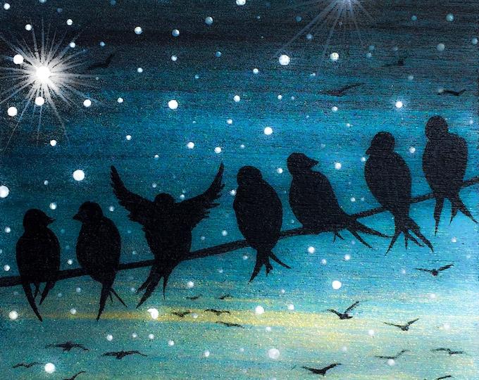 Birds on wire - night -  silhouette art- miniature original artwork - print mounted on wood