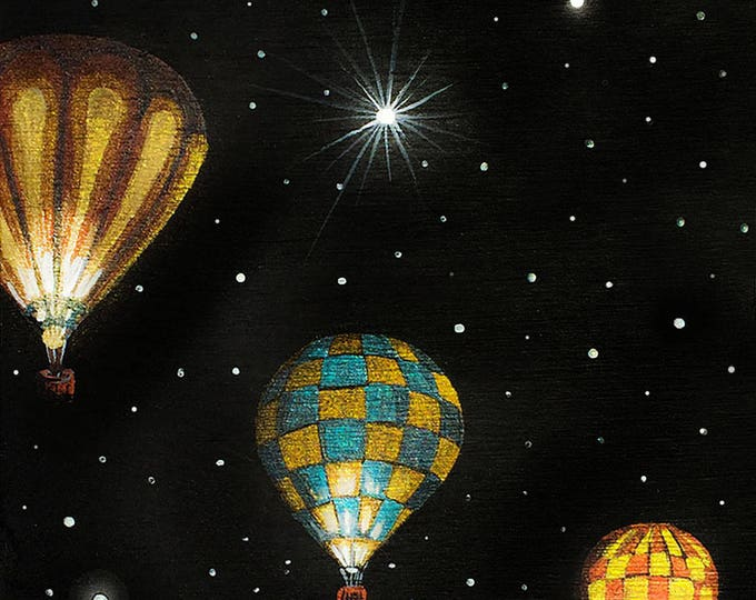 3 hot air balloon- night-miniature limited edition print mounted on wood
