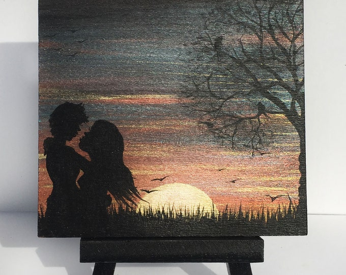 Romantic kissing - couple - sunrise -  silhouette - miniature miniature limited edition print mounted on wood