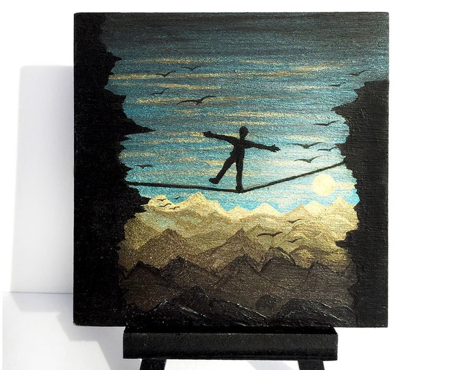 man on wire -Tightrope walker-sunrise -   silhouette - miniature miniature limited edition print mounted on wood
