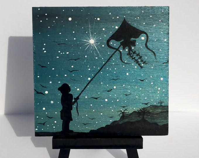 Little boy and a kite -night - silhouette - miniature miniature limited edition print mounted on wood
