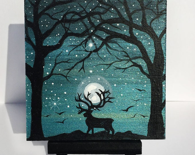 Reindeer in the forest - full moon night - silhouette - miniature miniature limited edition print mounted on wood