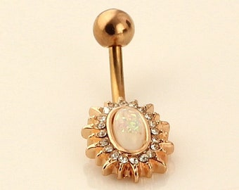 Opal Belly Button Ring. Opal Belly Ring.Rose Gold Navel Ring. Fancy Sparkle Body Jewelry. 14g Pretty Steel Belly Bar. Fire Opal Belly Ring.