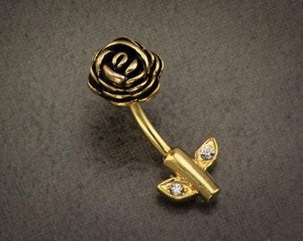 Full Blossom Gold Belly Button Ring. Rose Belly Bar. Gold Flower Belly Bar. Belly Button Rings Gold. Flower Jewelry. Flower Navel Ring.