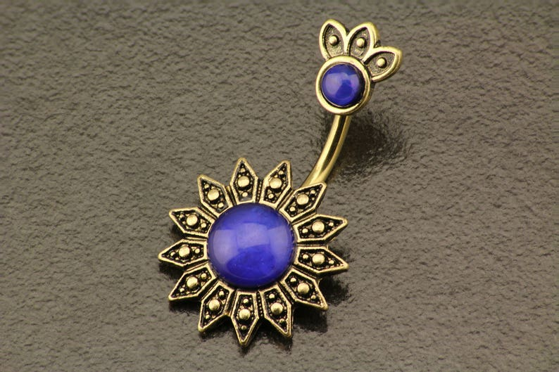 Opal Belly Button Ring. Flower Belly Ring. Boho Tribal Sun image 0