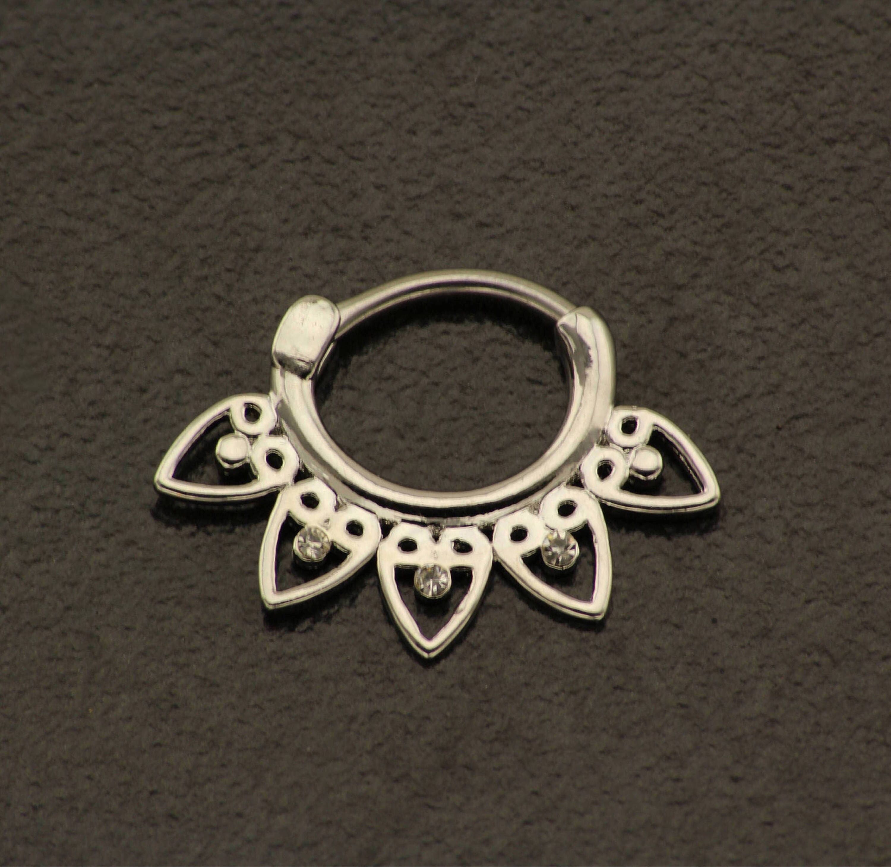 Elegant Body Jewellery. Hippie Clicker Boho Nose Ring Silver Plated Septum Jewelry Bohemian Hipster Nose Piercing Opal Septum Ring 16g