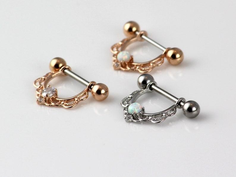 Nipple Ring. Nipple Jewelry. Nipple Piercing. 14k Rose Gold image 0