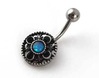 Summer Belly Button Piercing. Opal Belly Ring. Silver Navel Jewelry. Elegant Stone Jewellery. Dainty Beach Belly Ring. Bohemian Piercing.