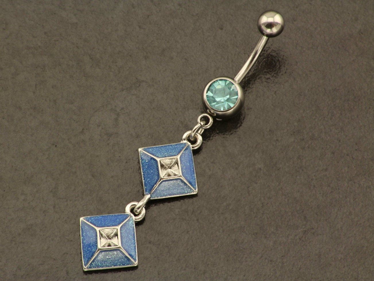 diamond belly button ring dangle belly ring silver blue. Black Bedroom Furniture Sets. Home Design Ideas