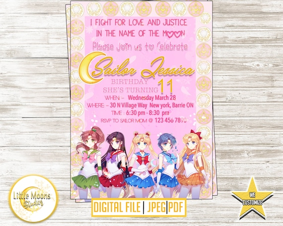 Sailor moon birthday invitation anime birthday invitation etsy image 0 filmwisefo