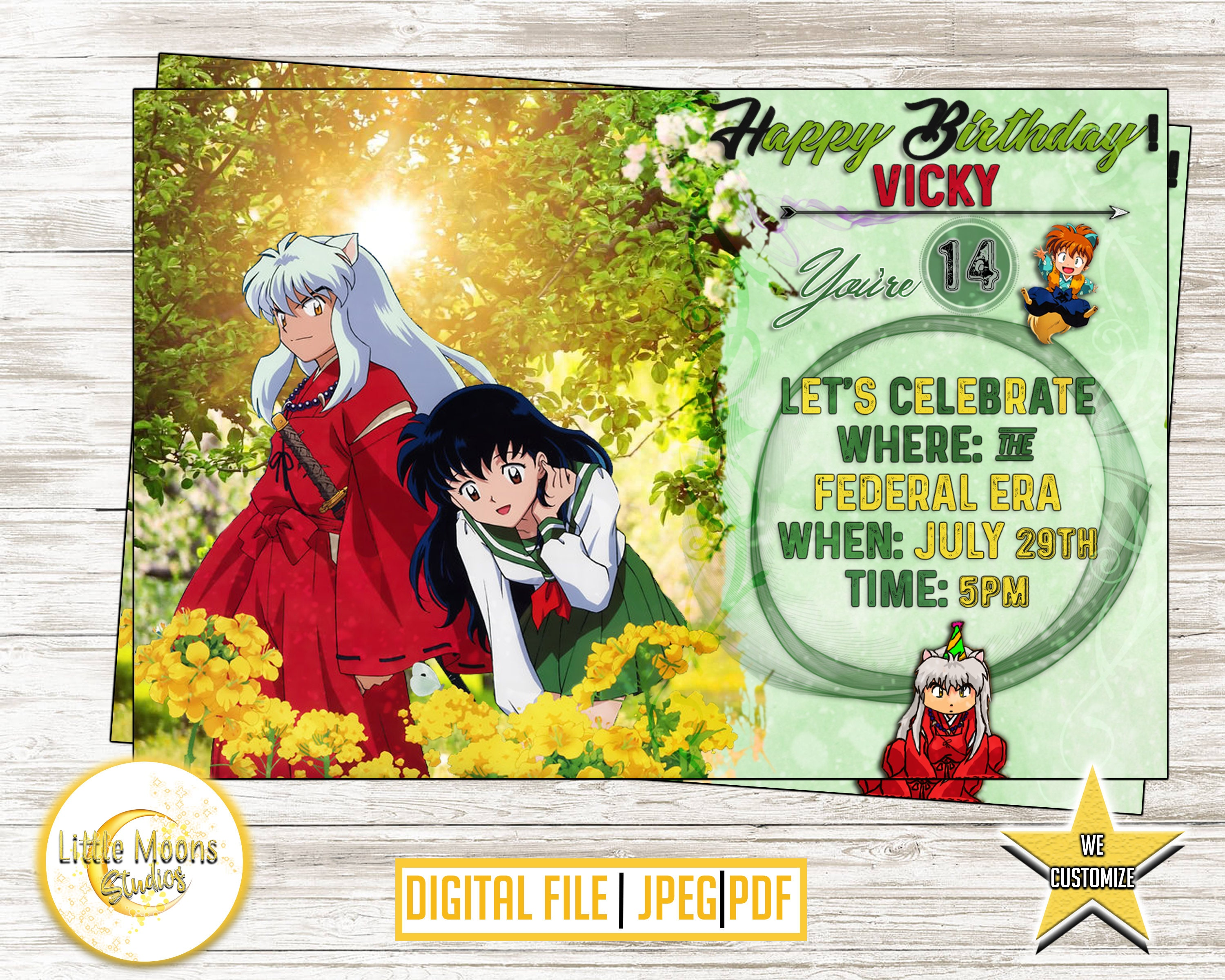 Inuyasha birthday invitations anime birthday invitation etsy zoom filmwisefo