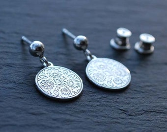STERLING SILVER earrings, Engraved Folk Design, silver 925, circle, wheel, studs