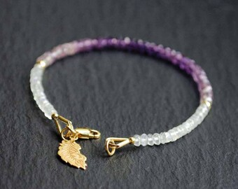 Ombre African Amethyst & Moonstone Bracelet, feather, Shaded Purple Gemstone Bracelet, Sterling SIlver 925 plated gold