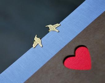 HUMMINGBIRD earrings - STERLING SILVER plated gold,  stud earrings,  sterling silver 925 earrings