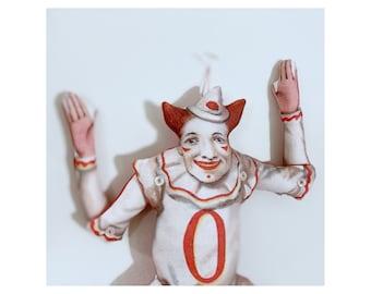 Oh! A Clown!  - Antique Lithograph Handmade Fabric Doll