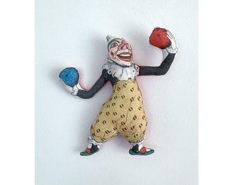 Juggling Clown!  - Antique Lithograph Handmade Fabric Doll