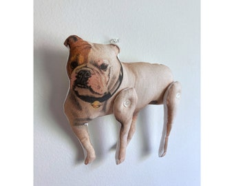 English Bulldog / British Bulldog / Bully / Dog - Antique Lithograph Handmade Fabric Doll