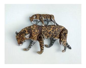 Jaguar / Cheetah / Leopard / Big Cat - Antique Lithograph Handmade Fabric Doll