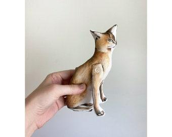 Jungle Cat / Wild Cat  - Antique Lithograph Handmade Fabric Doll