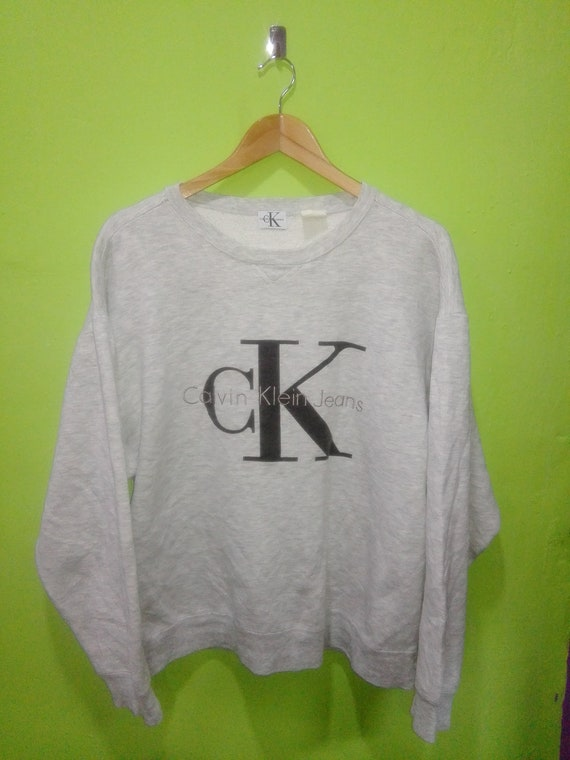 FREE SHIPPING!!! | Vtg CK Calvin Klein Jeans Big Logo Hip Hop Rap Swag sweater Size Large