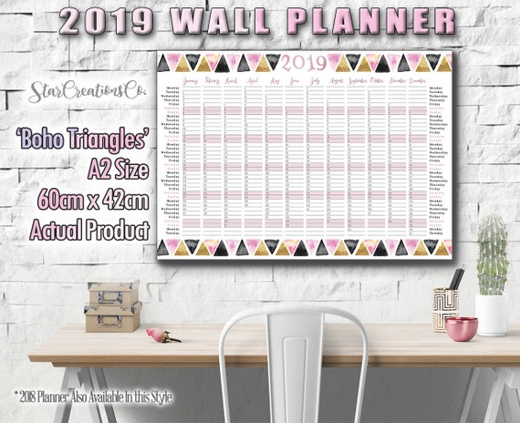2019 Wall Planner A2 Boho Triangles Design