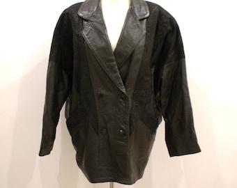 Leather Bomber Jacket 80s Ladies Rocker Biker Suede Raglan Sleeves Button Up Black Short Coat Motorcycle Hipster England Made Medium Large