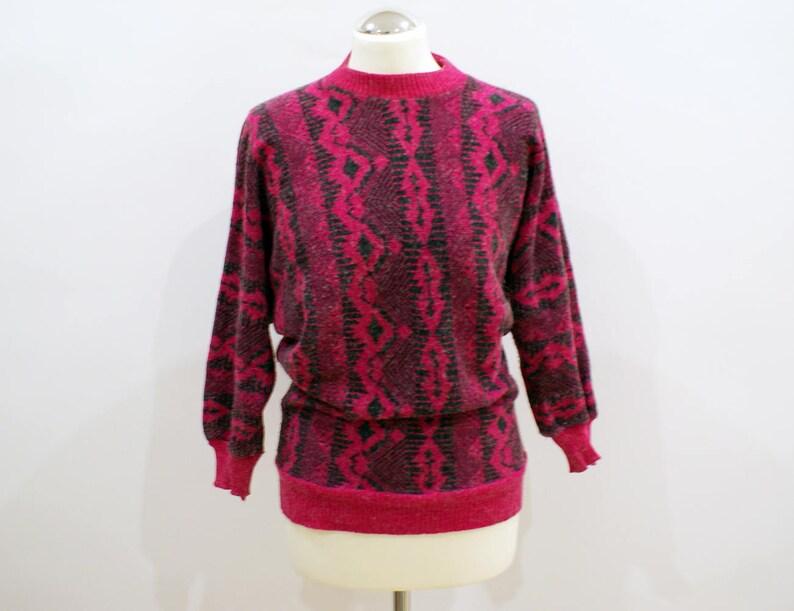 best website 5bd2d ed933 Vintage Pink Lila Wolle Winter Pullover 80er Jahre Jumper kuschelige  Strickwaren warmen Pullover weiß Garn Details