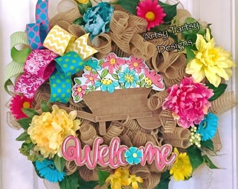 Welcome Wreath Spring Summer Fall Everyday- Large