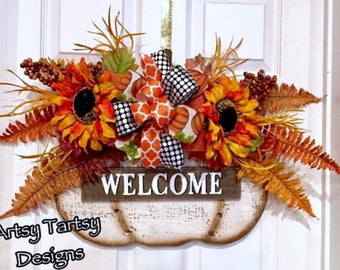 Fall Thanksgiving Pumpkin Wreath Door Hanger Decor