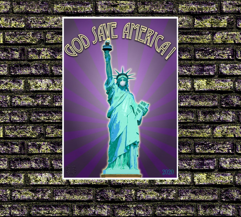 America Pandemic Poster 2020 /'God Save America!/'  signed and numbered Art Poster Print