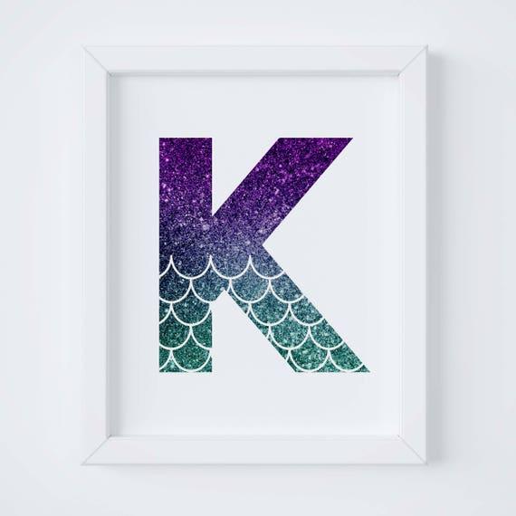 photo regarding Printable Letter K titled Letter K Printable for Nursery, Mermaid Print, Mermaid Decor, Printable Wall Artwork, Mermaid Nursery Artwork, Children House Decor, Mermaid Letter Print