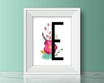 Printable Floral Wall Art, Floral Letter Nursery, Printable Wall Art, Nursery Decor, Baby Girl Nursery Print, Floral Monogram
