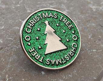 O Christmas Tree Enamel Pin - Glittery Green Lapel Badge
