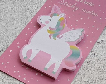 Cute Unicorn Sticky Notes - Rainbow Stationery