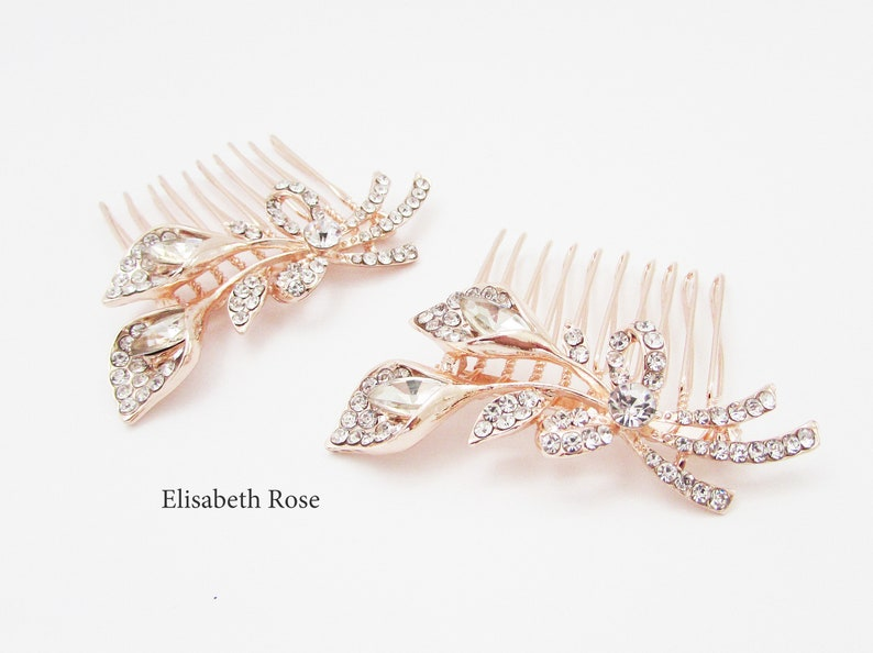 Rose Gold Decorative Wedding Hair Comb Rose Gold Floral Hair Jewellery for Wedding Small Rose Gold Hair Comb Floral Hair Comb