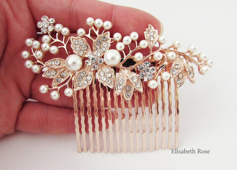 Decorative Rose Gold Wedding Hair Comb Crystal Hair Comb for image 0