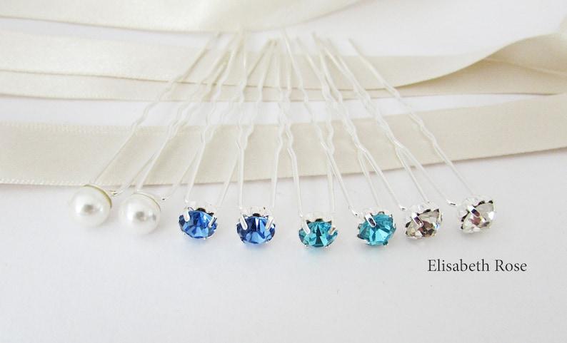 Blue Wedding Hair Pins Hair Pins for Beach Wedding Set of 8 Hair Pins 8 Hair Pins Crystal Bridal Hair Pins Blue Hair Piece