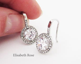 Small Silver Rhinestone and Crystal Earrings, Earrings for Wedding, Silver Sparkly Earrings, Small Round Drop Earrings, Bride Earrings