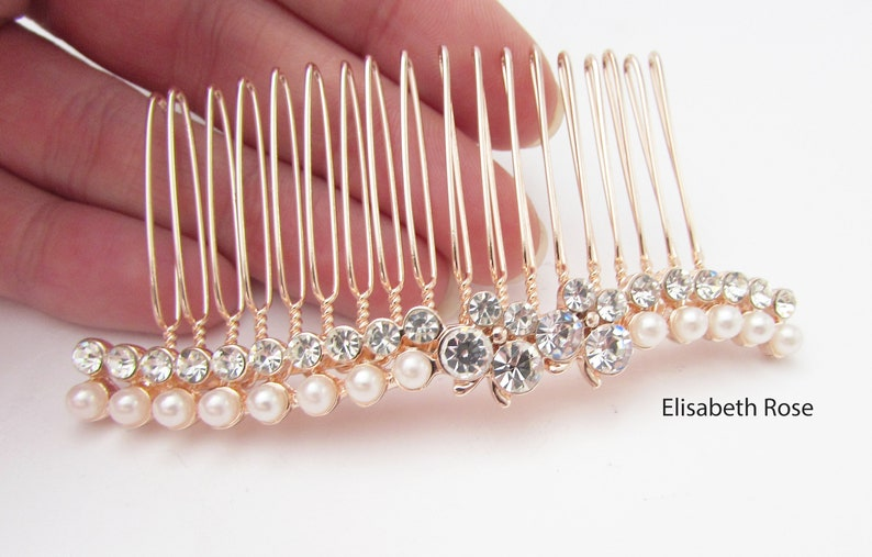 Rose Gold and Pearl Hair Jewellery for Wedding Simple Hair Comb for Bride Ivory White Pearl and Crystal Wedding Hair Comb Rose Gold Comb