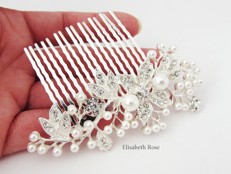 Crystal and Pearl Hair Comb for Wedding Hair Jewelry Wedding Day Hair Comb Decorative Silver Wedding Hair Comb Silver Bridal Hair Comb
