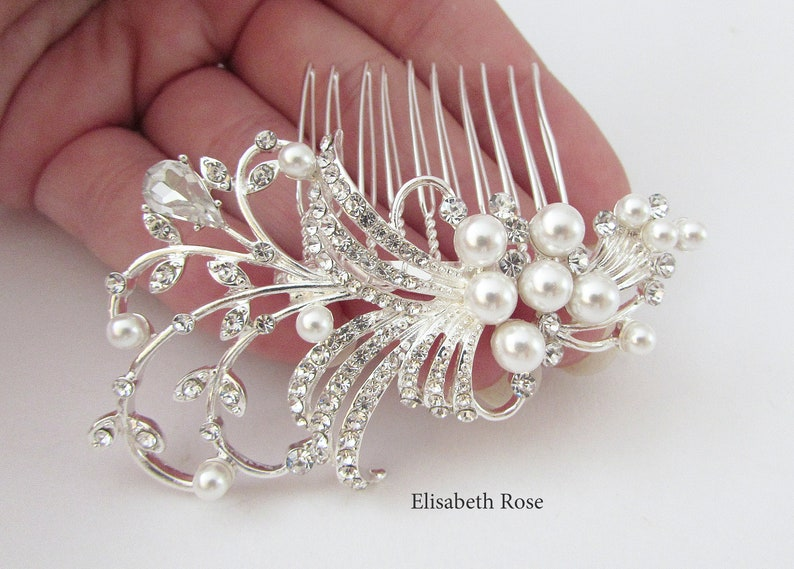 Silver Hair Jewelry Bridal Hair Comb Small Bride Hair Comb White Pearl Hair Comb for Wedding Hair Comb Small Silver Wedding Hair Comb