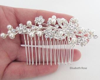 Decorative Silver Wedding Hair Comb, Crystal and Pearl Hair Comb for Wedding, Silver Bridal Hair Comb, Wedding Day Hair Comb, Hair Jewelry