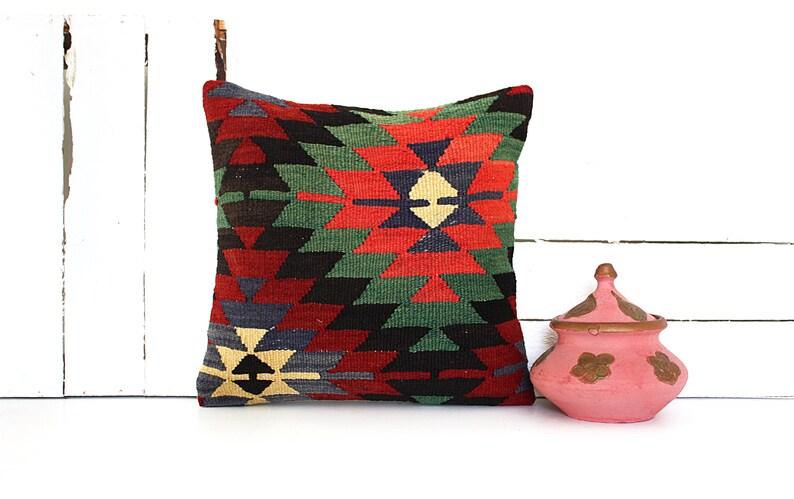 Boho Sham Cover Handmade Kilim Cushion Cover 16x16 Vintage Kilim Pillow Handwoven Turkish Kilim Pillow Sofa Throw Pillow Home Decor