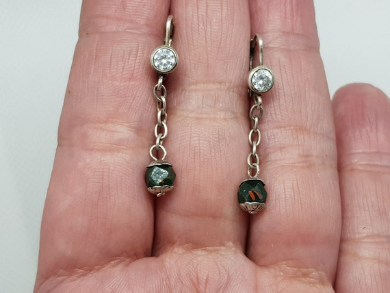 Antique Vintage Sterling Silver Faceted Jasper Beads Clear  Cubic Zirconia Dangle Chain Earrings