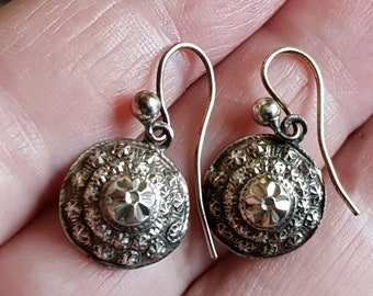 Antique 1800's Sterling Silver Dome Cone Shaped Diamond Cut Star Dangle Earrings