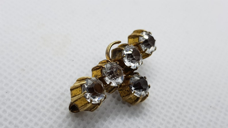 Antique 1900/'s Brass White Clear Faceted Glass Beads Brooch