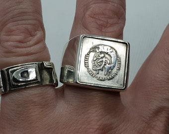 2  x ORIGINAL DIESEL Men 925 Sterling Silver Signet Ring