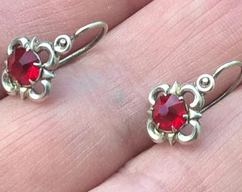 Antique Edwardian Germany 800 Silver Red Paste Very Small Dangle Earrings